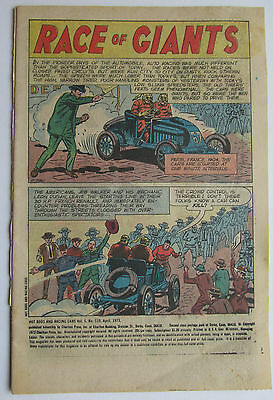 119 HOT RODS and RACING CAERS COVERLESS COMIC 1973 GOOD