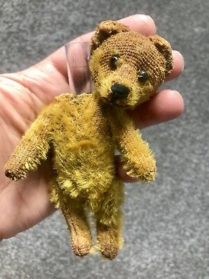 "Early Rare Antique Miniature 5"" Mohair Schuco Bear All Intact Tattered Sweet Nr!"
