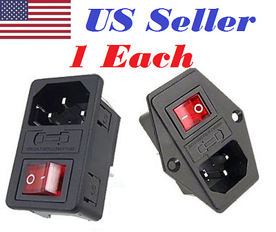 2Pcs Inlet Module Plug Fuse Switch UR Male Power Socket 10A 250V AC 3Pin Black