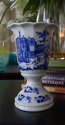 Ironstone Victoria Ware Flow Blue Style English Town Scene Solid Porcelain Vase