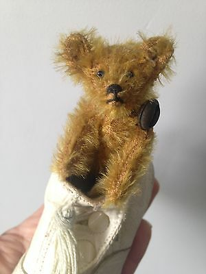 """VERY RARE ANTIQUE C.1910 Steiff 3.5"""" MINIATURE Mohair Golden Brown In Baby Shoe"""
