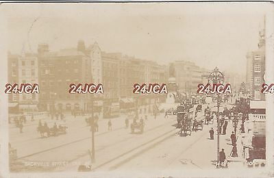 Irish Real Photo. Sackville St, Dublin. Trams. Horses and Buggies. Mailed 1905