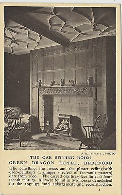 English Postcard. Green Dragon Hotel, Oak Sitting Room, Hereford. Mailed 1942