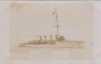 Royal Navy Real Photo. HMS Amphion. Active-class scout cruiser  c 1915