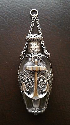 Romania Glass & Silver Bottle -Navy, Military Large Anchor Symbol Vintage Scarce