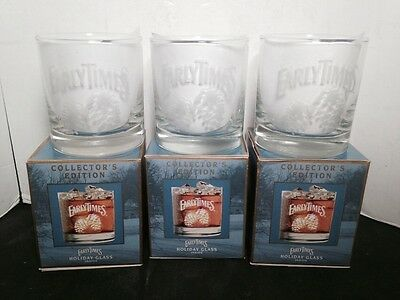 Early Times Whiskey Holiday Glass Set Of 3 Collector's Edition Barware