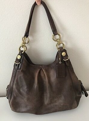 COACH Genuine Brown Leather / Gold Hardware Shoulder Bag Purse