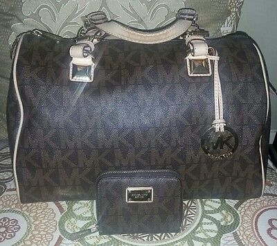 Michael Kors Large Brown Grayson Satchel Handbag Purse with Matching Wallet