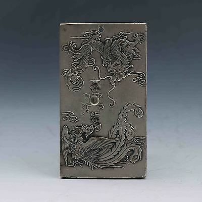 Chinese Collection Tibet Silver Hand Carved Dragon & Phoenix Pendant