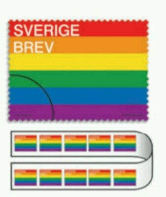 Strip of 10 gay pride interest rainbow flag first-class Swedish postage stamps