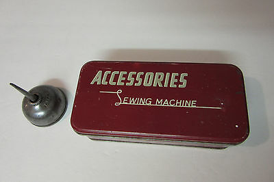 Vintage Sewing Machine Accessories Tin Box Metal Red & Singer Oil Can Plus More