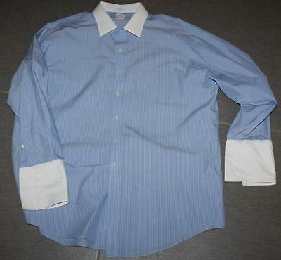 Men's BROOKS BROTHERS Blue Striped NON IRON Dress Shirt French Cuffs 18-35