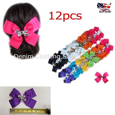 "12pcs Large Hair Bow Alligator Clip Boutique Grosgrain Ribbon 5"" Lot Wholesale"