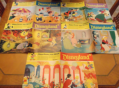 Vintage 1970's Disneyland 5 Magazine Lot Cinderella Pooh Mickey Exc Condition