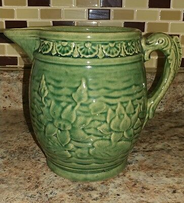 """Antique Green Salt glazed Pitcher Water Lilies Fish Handle """"30"""" McCoy Truly Old"""