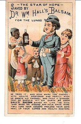 Victorian Trade Card Dr. Wm. Hall's BALSAM for the Lungs Black Americana Foldup
