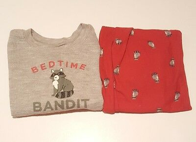 Size 24 Months Baby Boy Carter's Pajama 2 Piece Outfit Set. Grey and Red Racoon