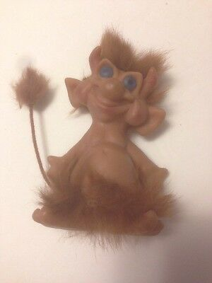 Vintage Reisler Troll Doll 1960's Made in Denmark Horns and Fur and Tail