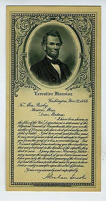 LINCOLN MRS BIXBY LETTER  – ENGRAVING BUST PORTAIT – WESTERN BANK NOTE CO – Ca.