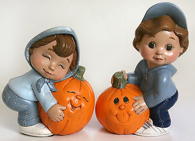 Halloween Dona's Sweet Tots Pumpkin Patch Kids Finished Hand Painted Ceramic Vtg
