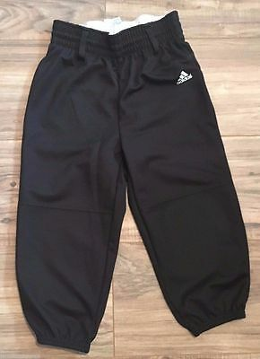 Adidas Boys Size S Black Pants Triple Stripe Youth Pull-Up Belt Loops Athletic