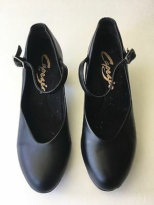 Capezio 550 Jr. Footlight Character Dance Shoes 4.5 Black Leather Sole Heels