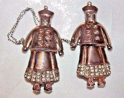 Antique Oriental Chatelaine Vermiel Sterling Silver Rhinestone Pin Set MS2