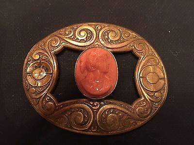 Coral Cameo on Pinchbeck Frame