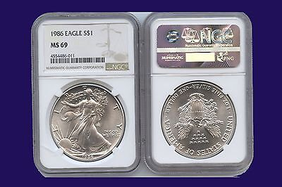 1986 S AMERICAN SILVER EAGLE 1oz NGC MS69