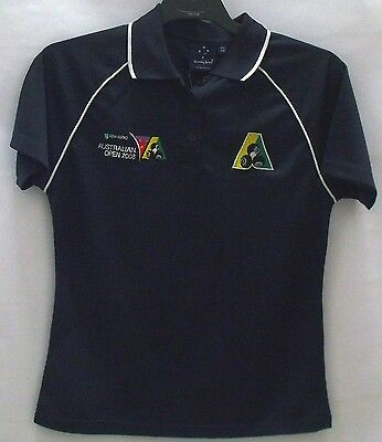 Lawn Bowls Australia Australian Open Polo Shirts Ladies Navy with White