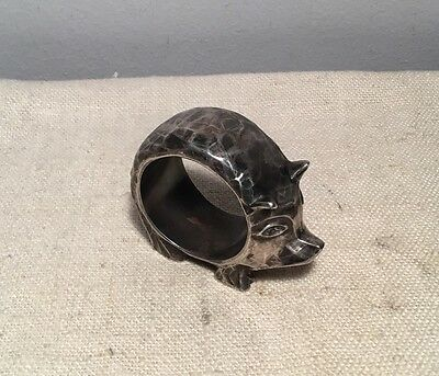 Reed & Barton Antique Silver Plated Hand Hammered Figural Pig Heavy Napkin Ring
