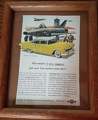 1955 CHEVROLET BEL AIR 4-Door Sedan  Magazine Framed Original Advertisement
