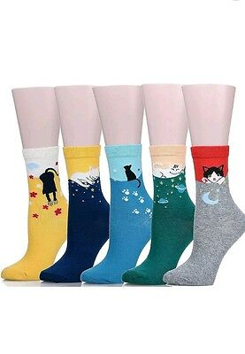 Womens    5 Pairs   Cat Designs  Socks    Multi-Color     Supersoft     New
