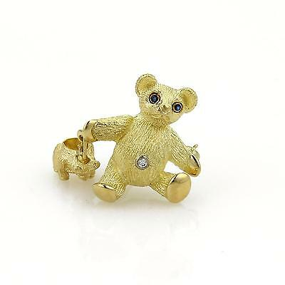Tiffany & Co. Diamond Sapphire Mother & Baby Bear 18k Yellow Gold Brooch Pin