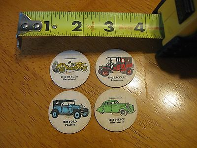 4 pc LOT OF VINTAGE DAIRY MILK BOTTLE CAPS DECORATED W/ ANTIQUE CARS