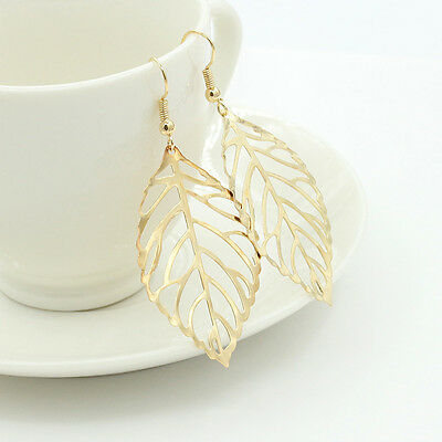 Simple Gold/Silver Plated Hollow Leaf Earring Hook Dangle Ear Stud Jewelry Gift