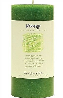 MONEY REIKI candle Crystal Journey CANDLES 3x6 Pillar Herbal Magic Pagan Wicca