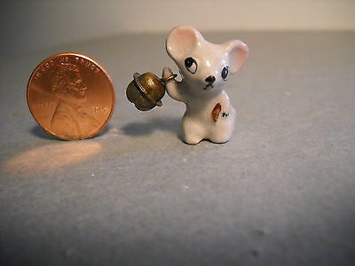 VINTAGE CERAMIC MOUSE w/BELL FIGURINE-JAPAN-GOOD CONDITION