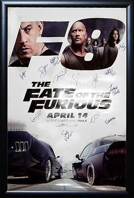Fate of the Furious Movie Poster Signed by Cast  Wood Framed - Fast and Furious