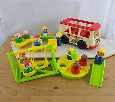 Lot of Vintage Fisher Price Little People Mini Bus, School Room & Play Ground