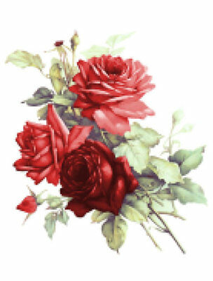 Vintage Image Victorian Shabby Red Cabbage Roses Furniture Transfer Decals FL497