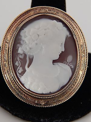Antique Hand Blown Glass Double Sided Swivel Photo Cameo Brooch Pin Pendant GF
