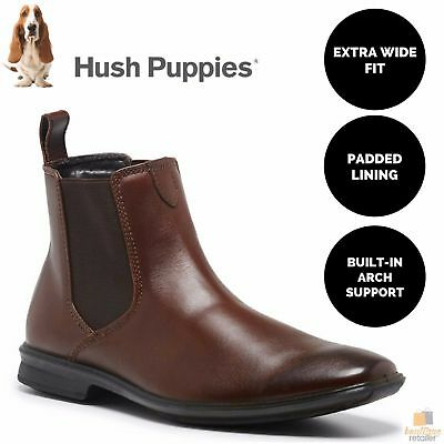 Men's HUSH PUPPIES CHELSEA Leather Boots Shoes Slip On Extra Wide Comfort Work