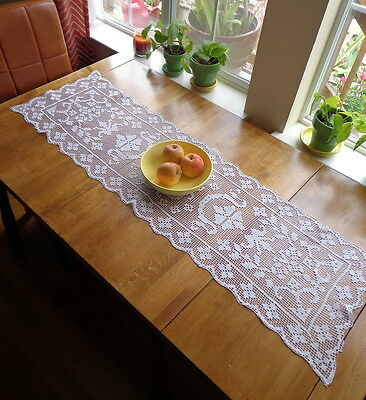 "Antique Large White Italian Handmade Lace Table Runner 54"" X 16"" Superb!"