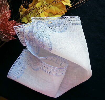 Antique Handmade SWISS Lace & Embroidery on Fine Linen Lavish Wedding Hankie #5
