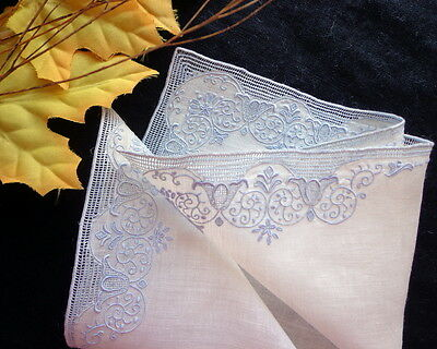 Antique Handmade SWISS Lace & Embroidery on Fine Linen Lavish Wedding Hankie #4