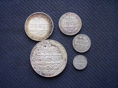 India states Mewar c1930 1/16 to 1 rupee silver