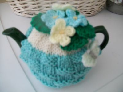 Hand Knitted  Basket Weave Tea Cosy For A Small Teapot 1-2 Cup Size
