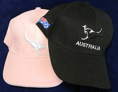 2 Australian Souvenir Adult Hat Cap His Hers Embroider Kangaroo Pink Black