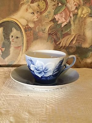 Vintage Rose Cup And Saucer Copenhagen B&g Bing & Grondahl Duo